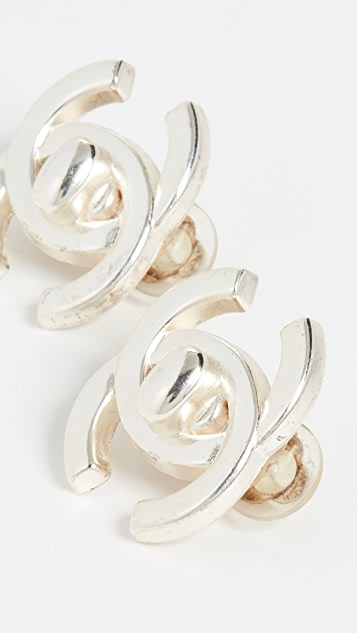 What Goes Around Comes Around Chanel Silver Turnlock Earrings