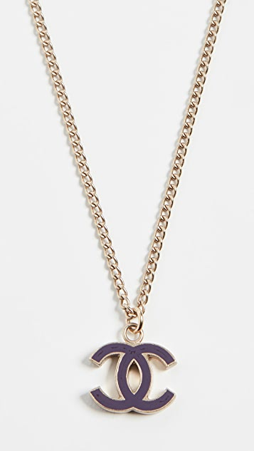 What Goes Around Comes Around Chanel Purple Enamel CC Necklace