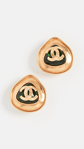 What Goes Around Comes Around Chanel Green Gold CC Earrings