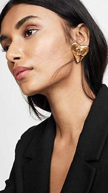 What Goes Around Comes Around Chanel Gold CC Heart Earring