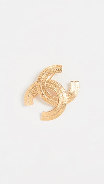 What Goes Around Comes Around Chanel Gold Layerd CC Pin