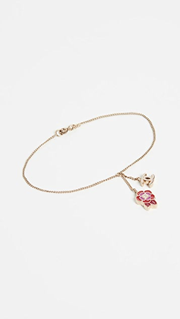What Goes Around Comes Around Chanel Red Gold Camellia Bracelet