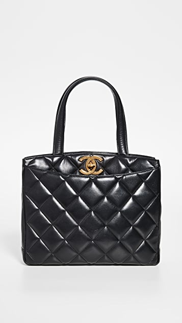 What Goes Around Comes Around Chanel Black Medium Turnlock Tote
