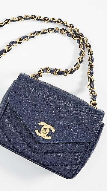 What Goes Around Comes Around Chanel Navy Medium Chevron Flap Bag