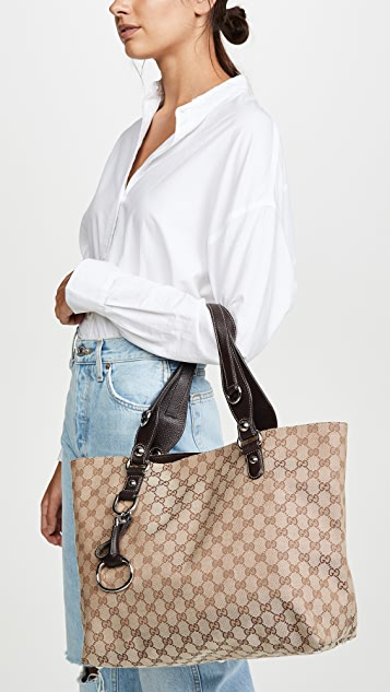 What Goes Around Comes Around Коричневая объемная сумка с короткими ручками Gucci из холщовой ткани Icon Bit