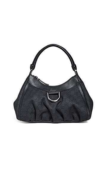 What Goes Around Comes Around Guci Black Canvas D Ring Abbey Bag