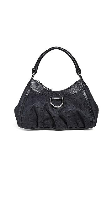 What Goes Around Comes Around Черная холщовая сумка Gucci Abbey с D-образным кольцом