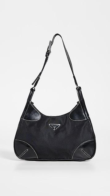 What Goes Around Comes Around Маленькая черная нейлоновая сумка на ремне Prada