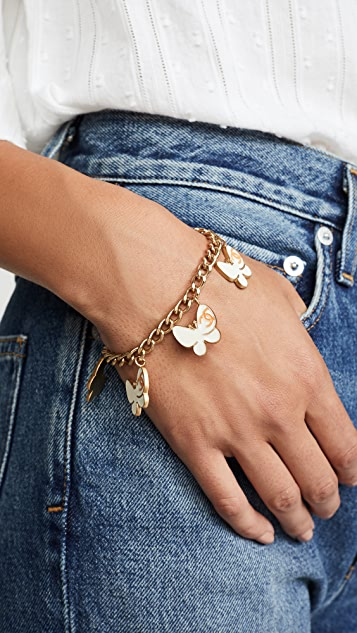 What Goes Around Comes Around Chanel Enamel Butterfly Charm Bracelet