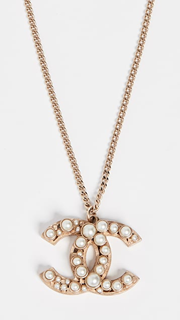 What Goes Around Comes Around Chanel Gold Imitation Pearl CC Necklace