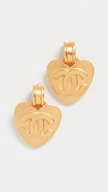 What Goes Around Comes Around Chanel Gold CC Heart Earrings