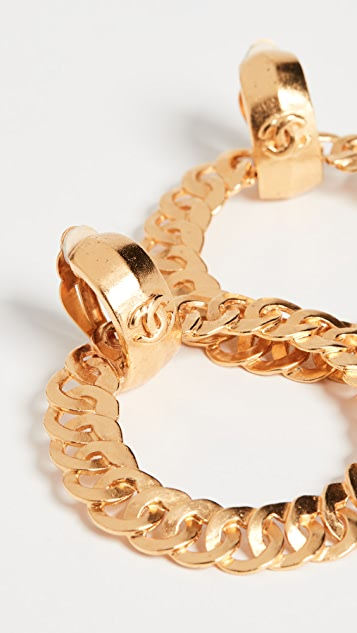What Goes Around Comes Around Золотые серьги-кольца Chanel с буквами «СС»