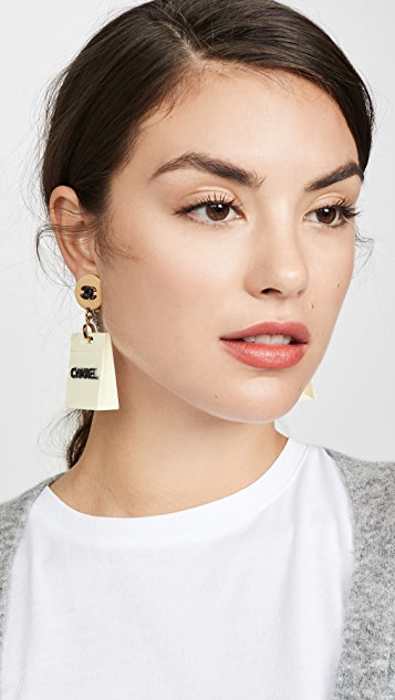 What Goes Around Comes Around Chanel Gold Acrylic Dangle Earrings