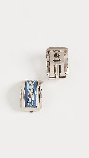 What Goes Around Comes Around Темно-синие серьги Hermes из серебра с эмалью