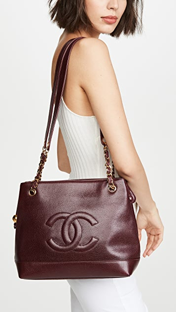 What Goes Around Comes Around Бордовая объемная сумка Chanel с короткими ручками с текстурой икры