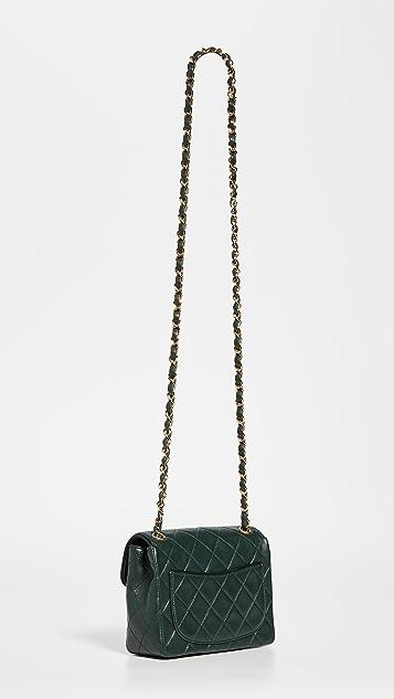 What Goes Around Comes Around Chanel Green Lamb Half Flap Mini Bag