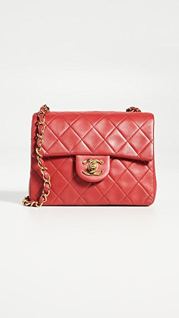 What Goes Around Comes Around Chanel Red Lamb Half Flap Mini