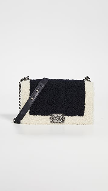 Chanel Black Shearling Boy Bag Medium by What Goes Around Comes Around