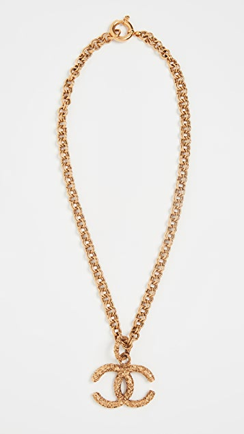 What Goes Around Comes Around Chanel Gold Rough CC Necklace