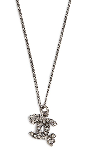 What Goes Around Comes Around Chanel Black Crystal CC Necklace