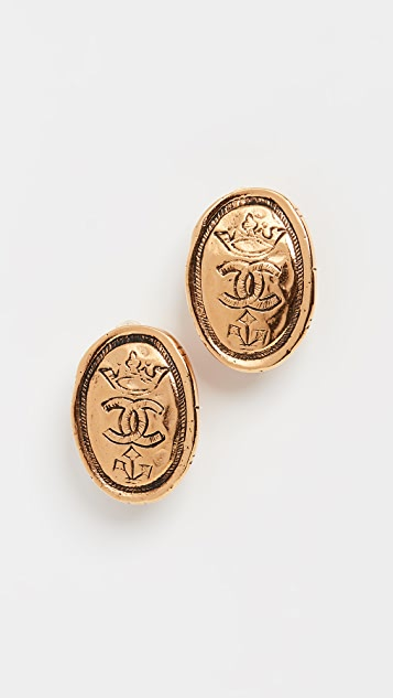 What Goes Around Comes Around Chanel Gold Oval Crown Earrings