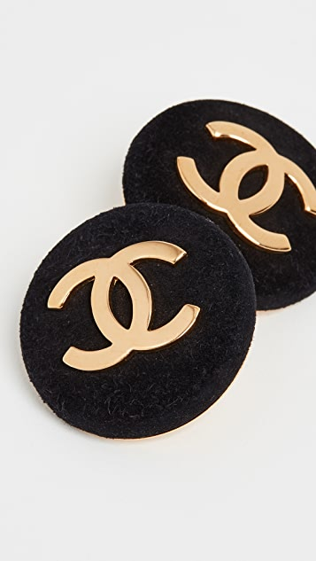 What Goes Around Comes Around Chanel Black Velvet CC Round Earrings