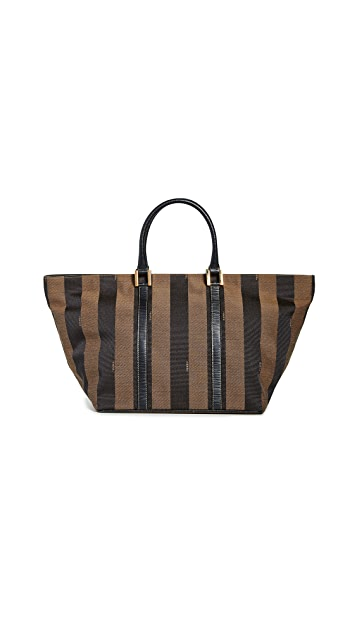 What Goes Around Comes Around Fendi Brown Pequin Handbag