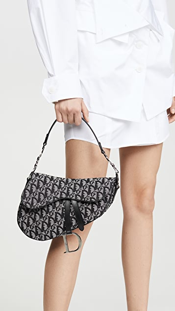 What Goes Around Comes Around Dior  Canvas Saddle Bag