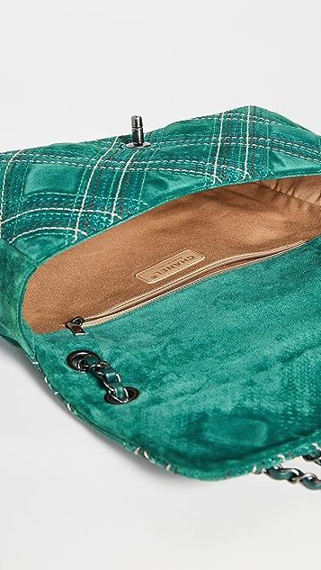 What Goes Around Comes Around Зеленая замшевая сумка Chanel Jumbo с отстрочкой