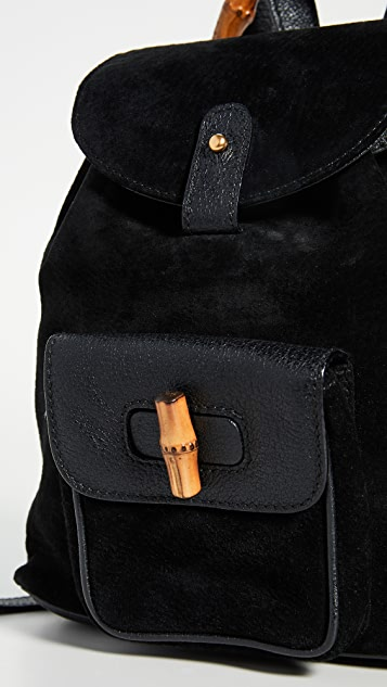 What Goes Around Comes Around Gucci Black Suede Bamboo Backpack