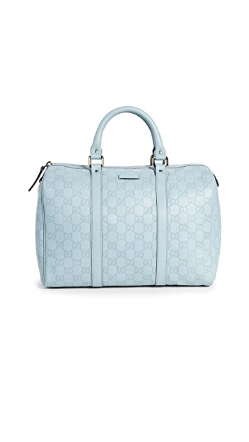 What Goes Around Comes Around Gucci Blue Guccissima Boston Bag