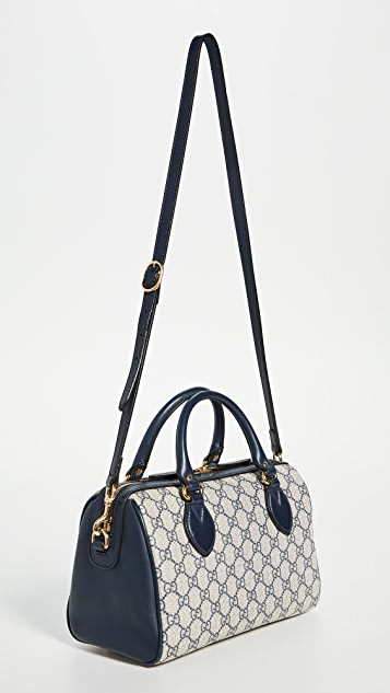 What Goes Around Comes Around Gucci Navy Coated Canvas Boston Bag