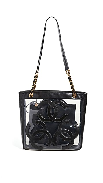 What Goes Around Comes Around Черная объемная сумка с короткими ручками Chanel Supermodel с текстурой икры