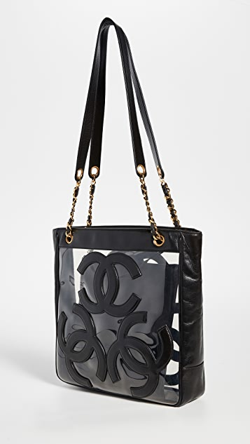 What Goes Around Comes Around Большая объемная сумка с короткими ручками Chanel 3CC из черного винила