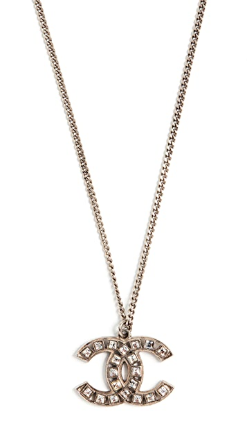 What Goes Around Comes Around Chanel Silver Crystal CC Necklace