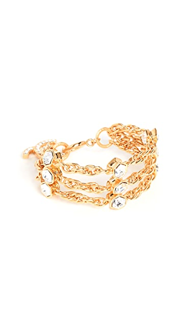 What Goes Around Comes Around Chanel Gold Cyrstal CC Bracelet