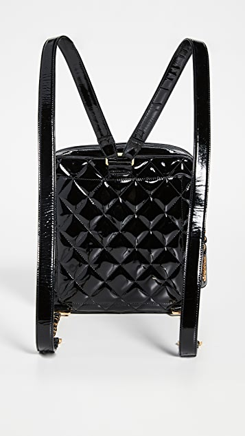 What Goes Around Comes Around Chanel Black Patent Quilted Backpack