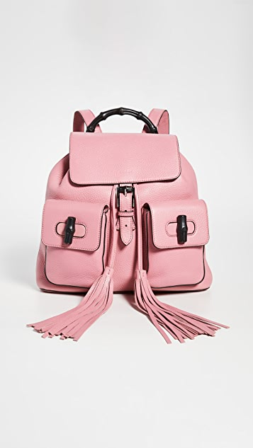 What Goes Around Comes Around Gucci Pink Leather Bamboo Handle Backpack