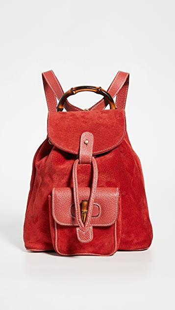 What Goes Around Comes Around Gucci Red Suede Bamboo Backpack