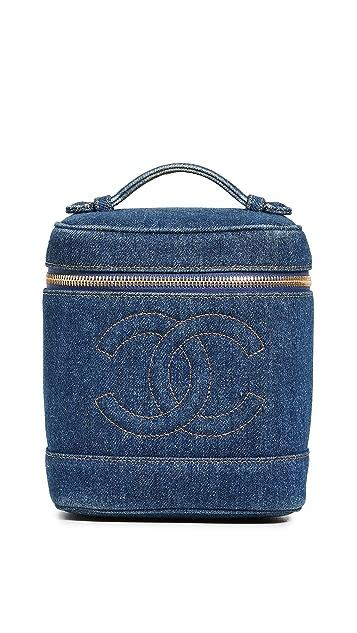 What Goes Around Comes Around Chanel Blue Denim Vanity Bag