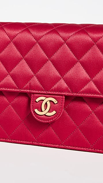 What Goes Around Comes Around Chanel Red Satin Crossbody Bag