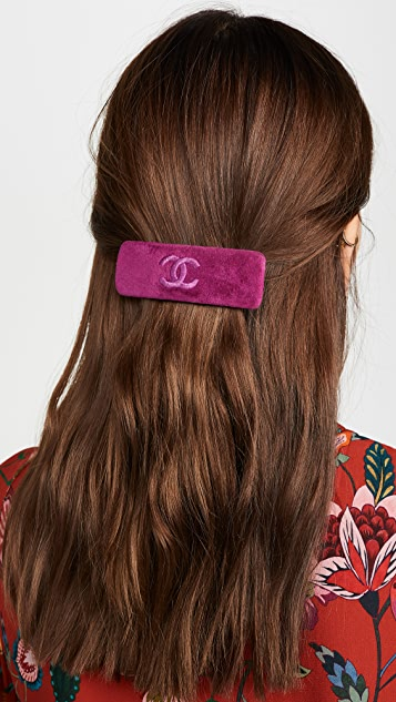 What Goes Around Comes Around Chanel 紫色丝绒发夹