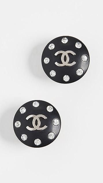 What Goes Around Comes Around Черные серьги-клипсы Chanel с кристаллами