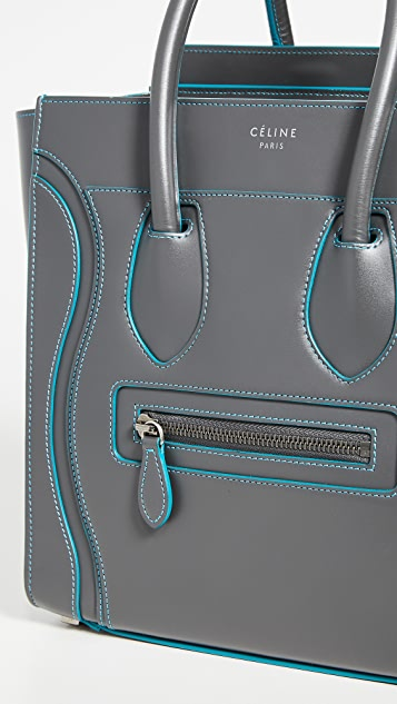 What Goes Around Comes Around Серая миниатюрная дорожная сумка Celine из гладкой кожи