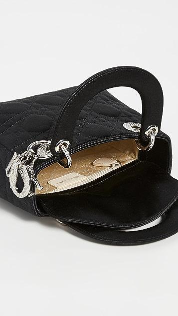 What Goes Around Comes Around Black Satin Lady Dior Mini Bag