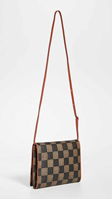 What Goes Around Comes Around Fendi Brown Checker Messanger Bag
