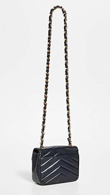 What Goes Around Comes Around Chanel Navy Chevron Flap Mini Bag