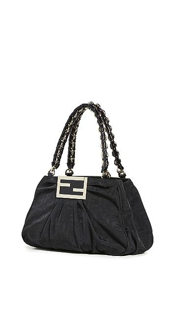 What Goes Around Comes Around Черная миниатюрная сумка Zucca от Fendi