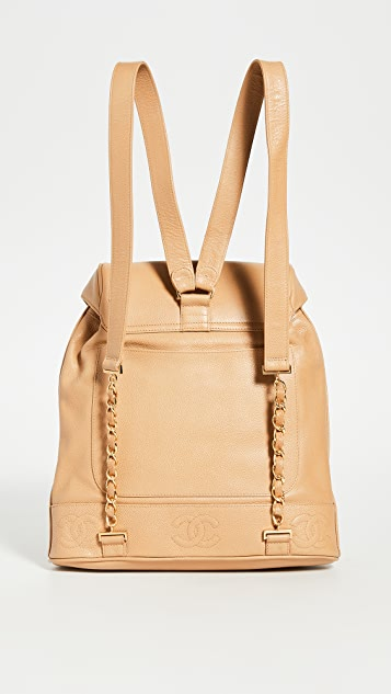 What Goes Around Comes Around Chanel Beige CC Large Backpack