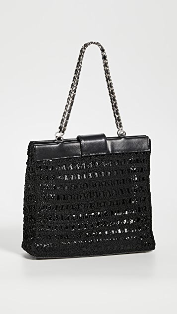 What Goes Around Comes Around Черная миниатюрная сумка Chanel из ткани с текстурой «рогожка»